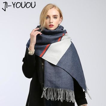 scarves women high fashion 2017 winter scarf plaid pashmina ladies scarves green scarf poncho and capes wool blanket oversized