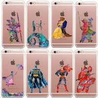 Deadpool Dead pool Taco Beauty of the beast Marvel Star Wars  Watercolor Art Soft Clear TPU Phone Case For iPhone X SE 5s 6S 6 Plus 8 7 8Plus AT_70_6