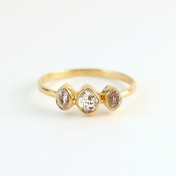 Herkimer Diamond Ring Gold   Dainty Rings   Ring For Girlfriend   Delicate Rings   Stacking Rings   Gold Engagement Ring   Ring With Stones