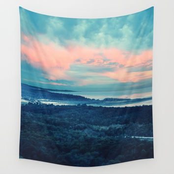 Landscape in blue Wall Tapestry by Viviana Gonzalez