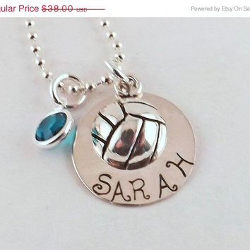 On Sale Personalized Sterling Silver Filled Volleyball Charm Necklace with Sterling Silver Charm and Swarovski Crystal Birthstone