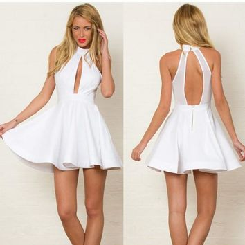 White Cut Out Pleated Zipper Sleeveless Halter Neck Skater Mini Dress