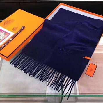"""Hermes"" Trending Women Men Stylish Cashmere Cape Tassel Scarf Shawl Scarves Accessories Blue"