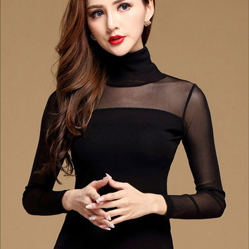 New Woman Blouse Shirt Black Sexy Long Shirt Casual Long Sleeve Lace Blouse Under Shirts Hollow Tops For Women Plus Size