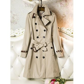 Fashion Mid- long Trench coat women Double Breasted Trench Coat With Belt Leather Cuff Classic Outfit Elegant Female Overcoat
