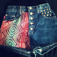 Ombre Vintage Rare 5 Button Closure Tribal High Waist Shorts