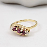 10k Gold Ruby and Diamond Ring, Size 6, Natural Rubies