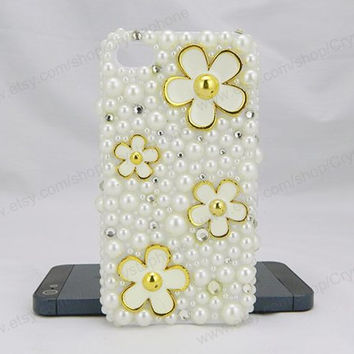 Golden Flowers case,Pearl bling iPhone case,iphone 6 case,iphone 6 Plus,iphone 5/5S/5c,iphone 4 case samsung galaxy S3/S4/S5 case,note3 case