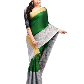 Green and Gray Pure Silk Handloom Pattu Sari - ROSNT2031