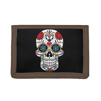 Colorful Sugar Skull TriFold Nylon Wallet