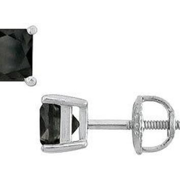 14K White Gold Prong Set Square Onyx Stud Earrings 2.00 CT TGW.