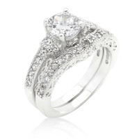 Trista Art Deco Round Cut Engagement and Wedding  Ring Set | 5ct | Cubic Zirconia