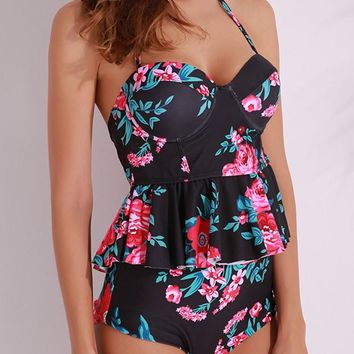 Double-faced Floral Printed Halter Backless Underwire Tankini Swimsuit Set