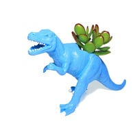 Up-cycled Light Blue Allosaurus Dinosaur Planter