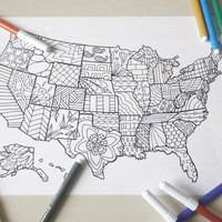 united states america map kids adult coloring book page instant download travel map art  home decor printable print digital lasoffittadiste