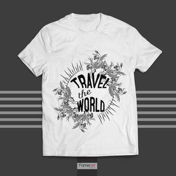 Travel the World Typographic Quote Graphic T shirt for Men and Women