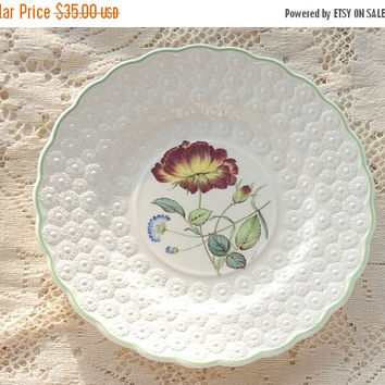 On Sale Vintage Spode Botanical  Plate, Flowers of the Month #10, Rose Collectible Plate, Signed Numbered 9366, Cabinet Plate Ca. 1932