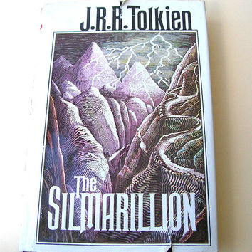 J R R Tolkien Book, The Silmarillion, Vintage JRR Tolkien Book, Hard Cover Book