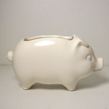 Ceramic 60s Pig Planter Vintage Design in White Succulent Cactus Planter