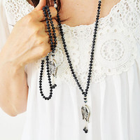 Discount 50% ROSARY NECKLACE SET, Dark Navy color glas beads tasbeeh  necklace set with antique silver plated tulip pendant and beads tassle