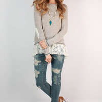 Lace Patchwork Long Sleeve  Shirt