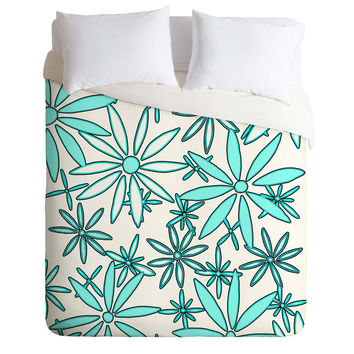 Madart Inc. Daisy Pattern Aqua White Duvet Cover