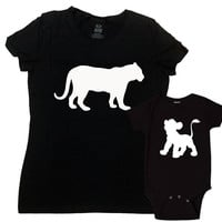 Mom And Daughter Matching Shirts Mommy And Me Outfits Mother Son Gift Matching Tops Family T Shirts Baby Shower Lioness Lion Cub-SA1060-1055