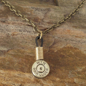 9mm Shell Casing Necklace Single Winchester by ShellsNStuff