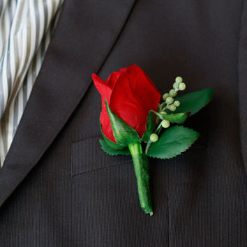 Silk Red Small Rose Boutonniere
