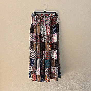 Vintage Women's Patchwork Skirt | Boho Clothing | Hippie Clothes | Ladies Skirt