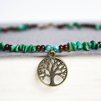 Tree of Life Necklace. Wood with Turquoise Bead Necklace. Tree Nature Charm Jewelry. Green Brown Blue Jewelry. Canadian Shop