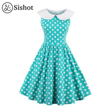 Women Vintage Dresses Summer Green Polka Dots Print Sleeveless A Line Knee Length Peter Pan Collar Cute Retro Dress