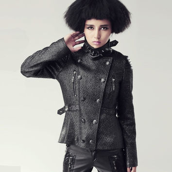 PUNK RAVE MILITARY SLIM FULL SLEEVE MANDARIN COLLAR DOUBLE BREASTED COAT Y-425