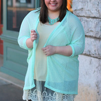 Runaway Dreams Cardigan in Mint {Curvy}