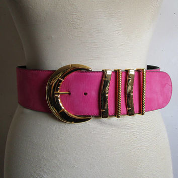 Vintage 1980s ESCADA Belt Pink Orange Sorbet Suede Wide Gold Buckle Belt Medium Ceinture Moyen
