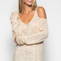 Cold Shoulder Sweater - Light Taupe