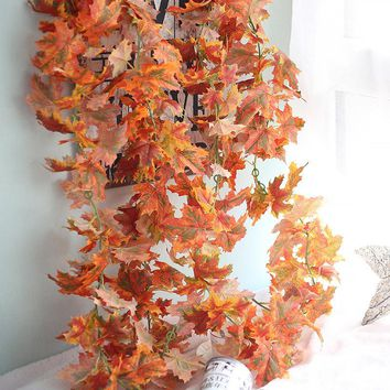 Decorative Flowers Free Shipping 180cm Artificial Fall Maple Leaf Garland Silk Vine Wedding Garden Decor Decoration