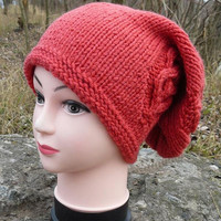 Color choices Super long beanie Red beanie slouchy hat Christmas gift for her Oversized hat Knit baggy hat