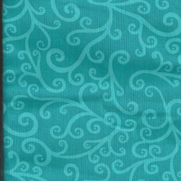 Blue Scrolly Vines, Paisley, Cotton Fabric, 1/2 yard, LAST PIECE