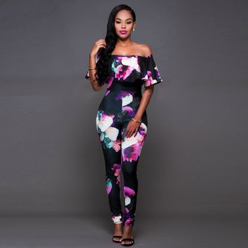 Long Plus Size Jumpsuits And Rompers For Women Sexy Printed Ruffles Off Shoulder Slash Neck Skinny Elegant Jumpsuit Hot Sale 4XL