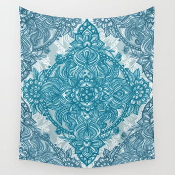 Teal & White Lace Pencil Doodle Wall Tapestry by Micklyn