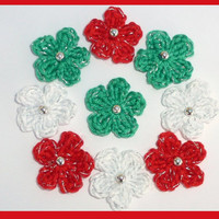 9 small, Christmas crochet flowers, appliques and embellishments