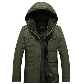 Mens Army Green Winter Hooded Military Style Coat