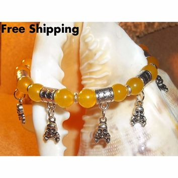 Skull & Crossbones Yellow Jade Silver Hand Crafted Charm Bangle Bracelet