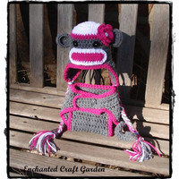 Baby Girl Hot Pink Sock Monkey Baby Diaper by enchantedcraftgarden