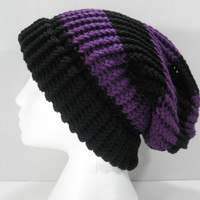 Slouchy Beanie, Black and Purple Stripes, Unisex Adults