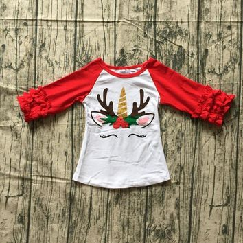 new arrival fall/winter Christmas baby girls T-shirt red reindeer unicorn top icing sleeves cotton raglans top children clothes