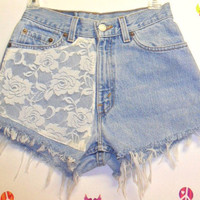 Vintage Levis  denim shorts -----with Lace ---Waist   25.5   inches