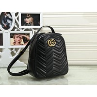 Gucci Classic Fashionable Women Leather Daypack Backpack Bookbag Black