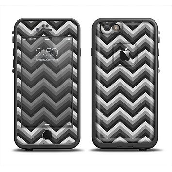 The Sharp Layered Black & Gray Chevron Pattern Apple iPhone 6 LifeProof Fre Case Skin Set
